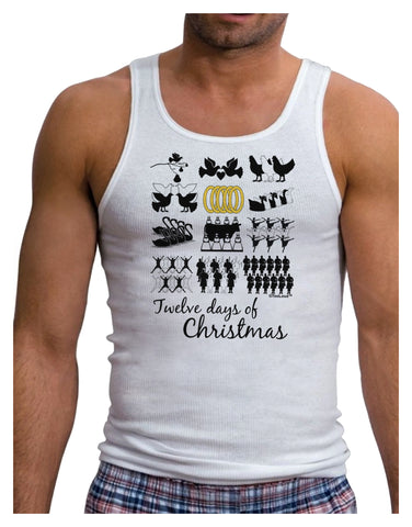 12 Days of Christmas Text Color Mens Ribbed Tank Top