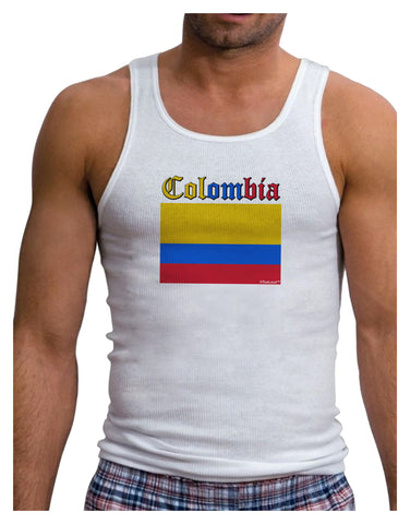 Colombia Flag Mens Ribbed Tank Top