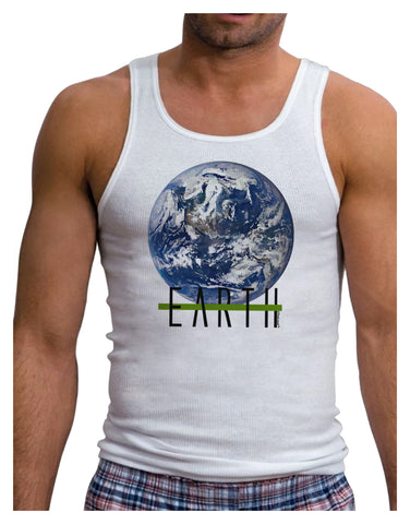 Planet Earth Text Mens Ribbed Tank Top