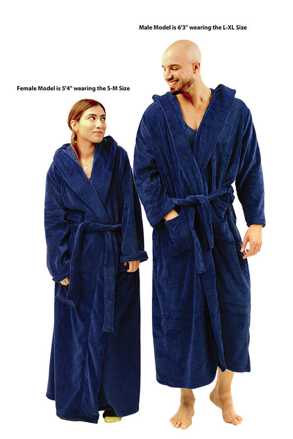 NDS Wear Plush Fleece Robe, Long Hooded Bathrobe for men