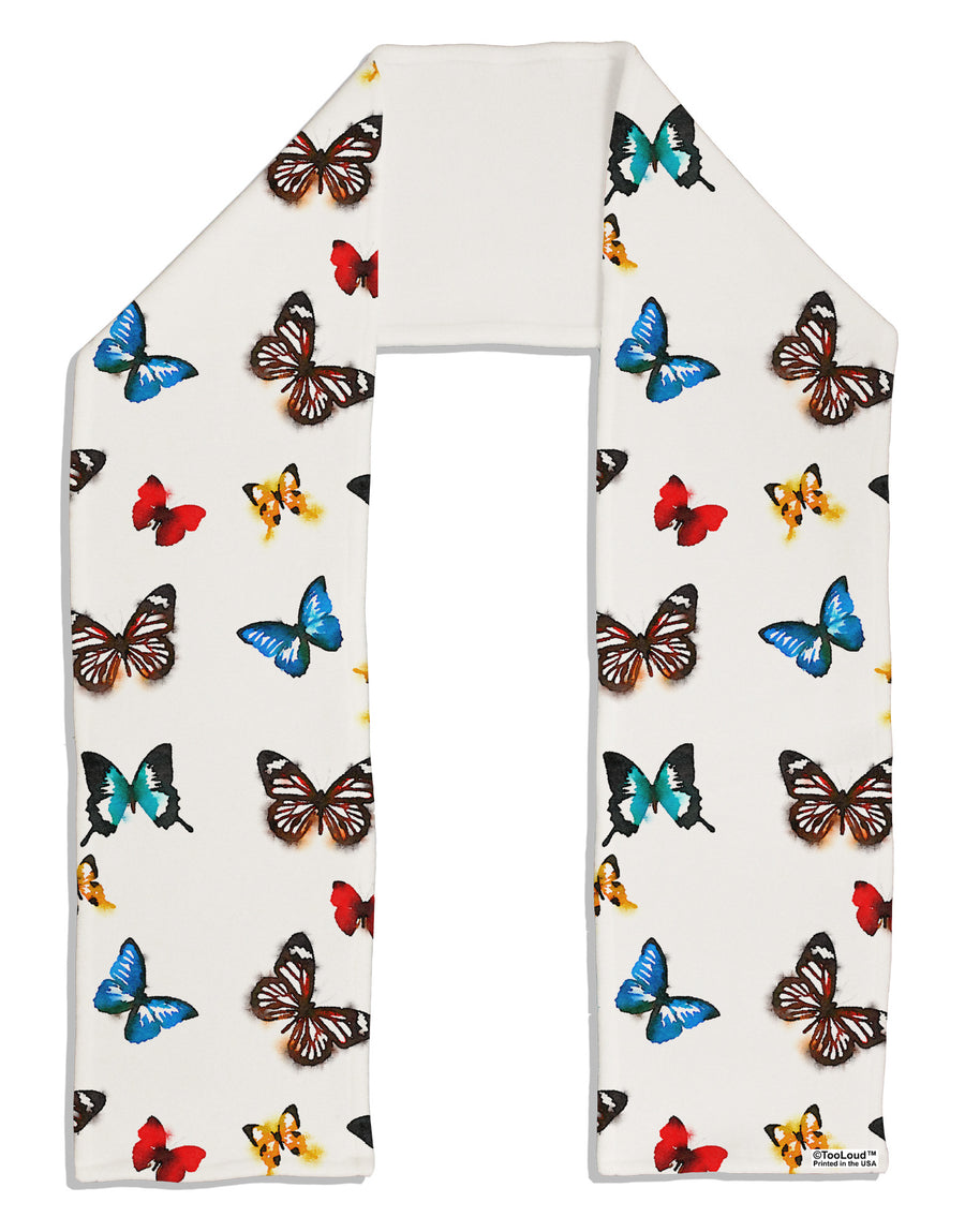 "Watercolor Butterflies AOP Adult Fleece 64"" Scarf All Over Print"