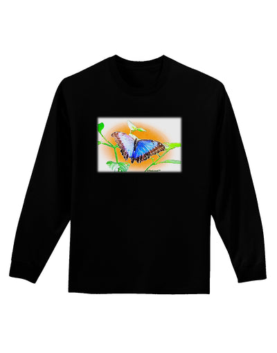 Blue Watercolor Butterfly Adult Long Sleeve Dark T-Shirt
