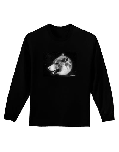 White Wolf Moon Adult Long Sleeve Dark T-Shirt