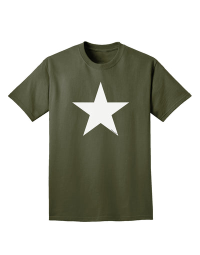 White Star Adult Dark T-Shirt - Military Green - 4XL Tooloud