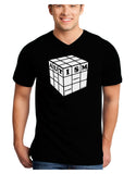 Autism Awareness - Cube B & W Adult Dark V-Neck T-Shirt