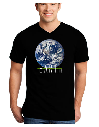 Planet Earth Text Adult Dark V-Neck T-Shirt