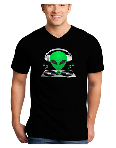 Alien DJ Adult Dark V-Neck T-Shirt