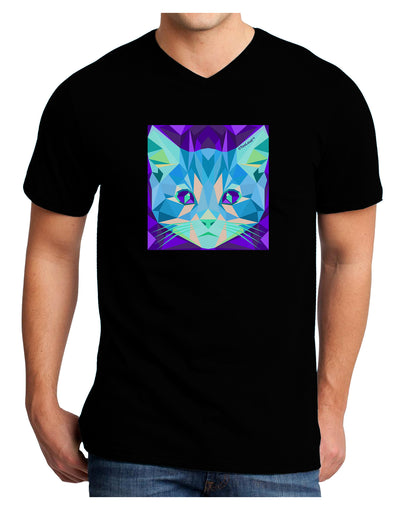 Geometric Kitty Inverted Adult Dark V-Neck T-Shirt