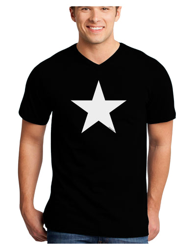 White Star Adult Dark V-Neck T-Shirt - Black - 2XL Tooloud