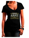 Proud Army Mom Juniors Petite V-Neck Dark T-Shirt