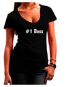 #1 Boss Text - Boss Day Juniors V-Neck Dark T-Shirt