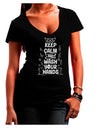 Keep Calm and Wash Your Hands Dark Juniors Petite V-Neck Dark T-Shirt