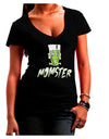 Momster Frankenstein Dark Juniors Petite V-Neck Dark T-Shirt Black 2XL