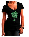 3D Style Celtic Knot 4 Leaf Clover Juniors V-Neck Dark T-Shirt