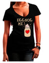 Eggnog Me Dark Juniors Petite V-Neck Dark T-Shirt Black 2XL Tooloud