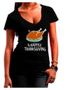 Happy Thanksgiving Dark Juniors Petite V-Neck Dark T-Shirt Black 2XL T