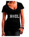 HODL Bitcoin Dark Juniors Petite V-Neck Dark T-Shirt Black 2XL Tooloud