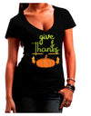 Give Thanks Dark Juniors Petite V-Neck Dark T-Shirt Black 2XL Tooloud