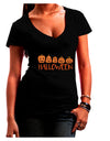 Halloween Pumpkins Dark Juniors Petite V-Neck Dark T-Shirt Black 2XL T