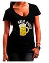 Beer Vibes Dark Juniors Petite V-Neck Dark T-Shirt Black 2XL Tooloud