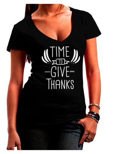 Time to Give Thanks Dark Juniors Petite V-Neck Dark T-Shirt Black 2XL