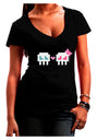 8-Bit Skull Love - Boy and Girl Juniors V-Neck Dark T-Shirt