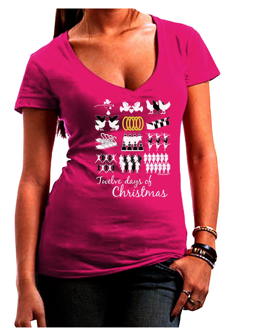 12 Days of Christmas Text Color Juniors V-Neck Dark T-Shirt