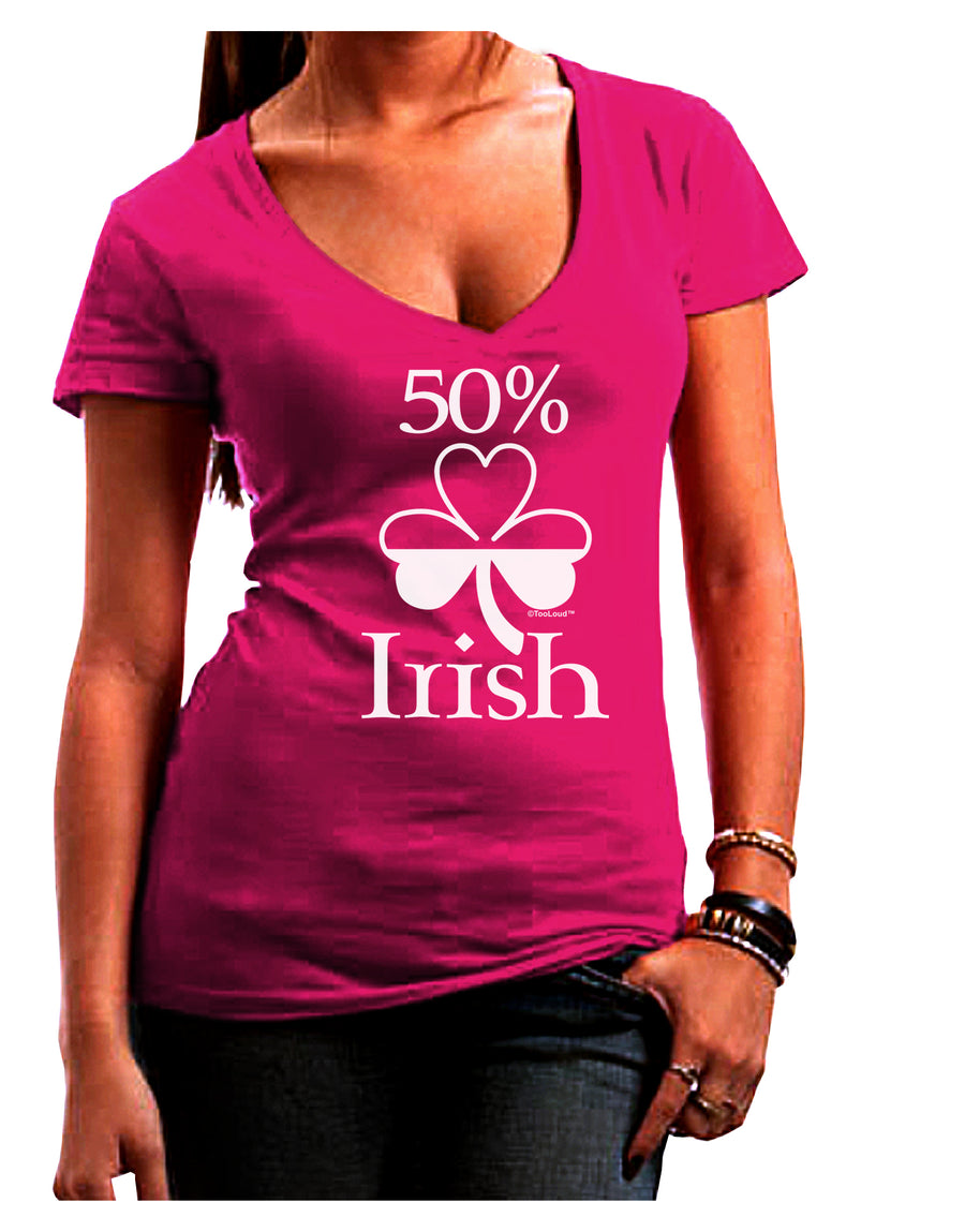 50 Percent Irish - St Patricks Day Juniors V-Neck Dark T-Shirt by TooLoud