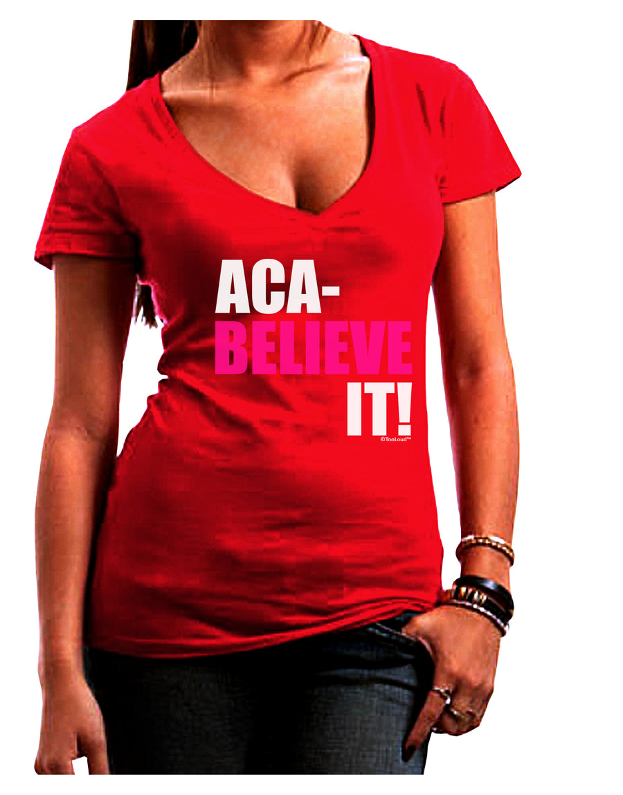Aca Believe It Juniors V-Neck Dark T-Shirt