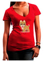 Kawaii Standing Puppy Juniors Petite V-Neck Dark T-Shirt