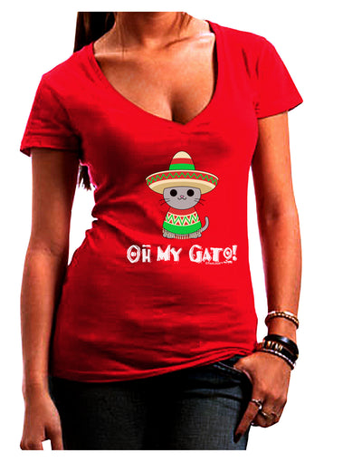 Oh My Gato - Cinco De Mayo Juniors V-Neck Dark T-Shirt