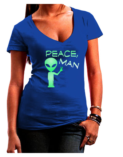 Peace Man Alien Juniors Petite V-Neck Dark T-Shirt