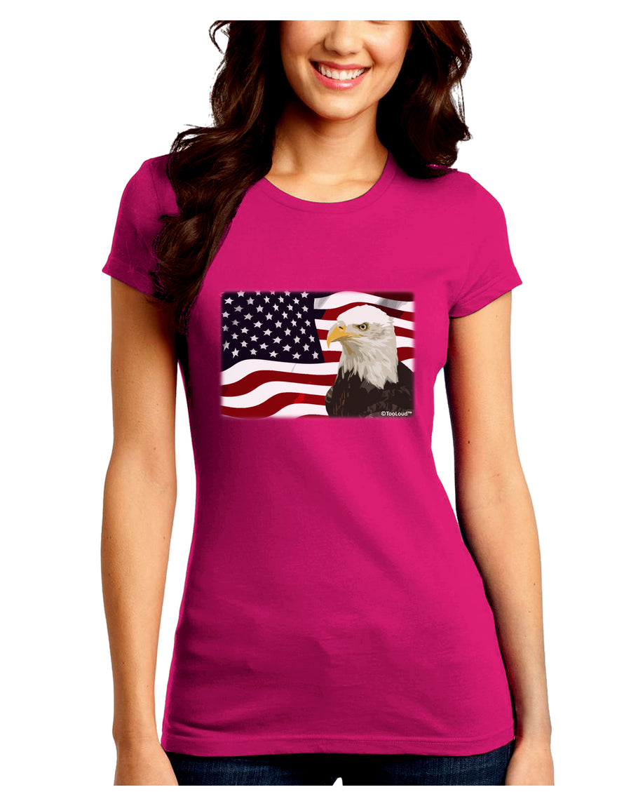 Patriotic USA Flag with Bald Eagle Juniors Crew Dark T-Shirt by TooLoud