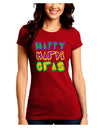 Happy Mardi Gras Text 2 Juniors Petite Crew Dark T-Shirt
