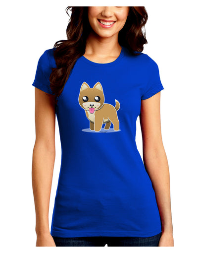 Kawaii Standing Puppy Juniors Petite Crew Dark T-Shirt