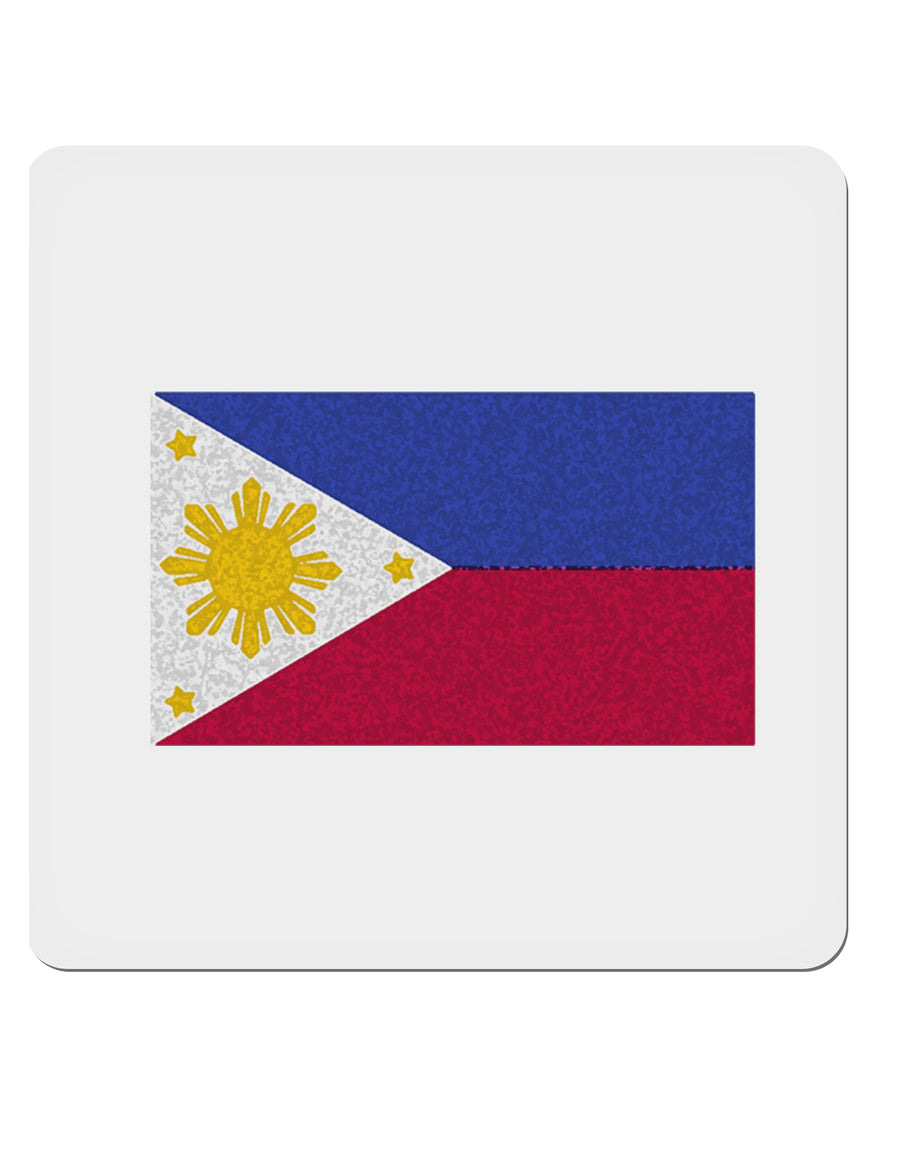 "TooLoud Distressed Philippines Flag 4x4"" Square Stickers - 4 Pieces"