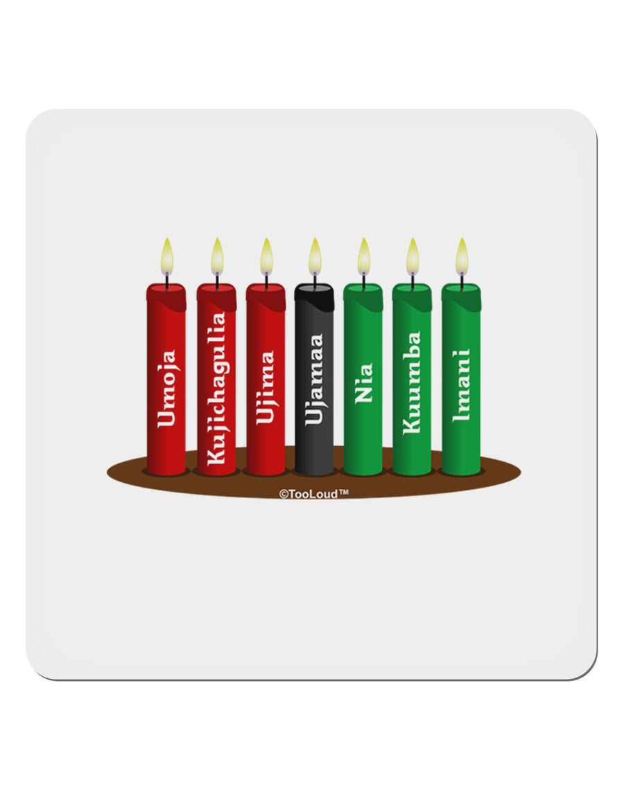 "Kwanzaa Candles 7 Principles 4x4"" Square Sticker - 4 PACK"
