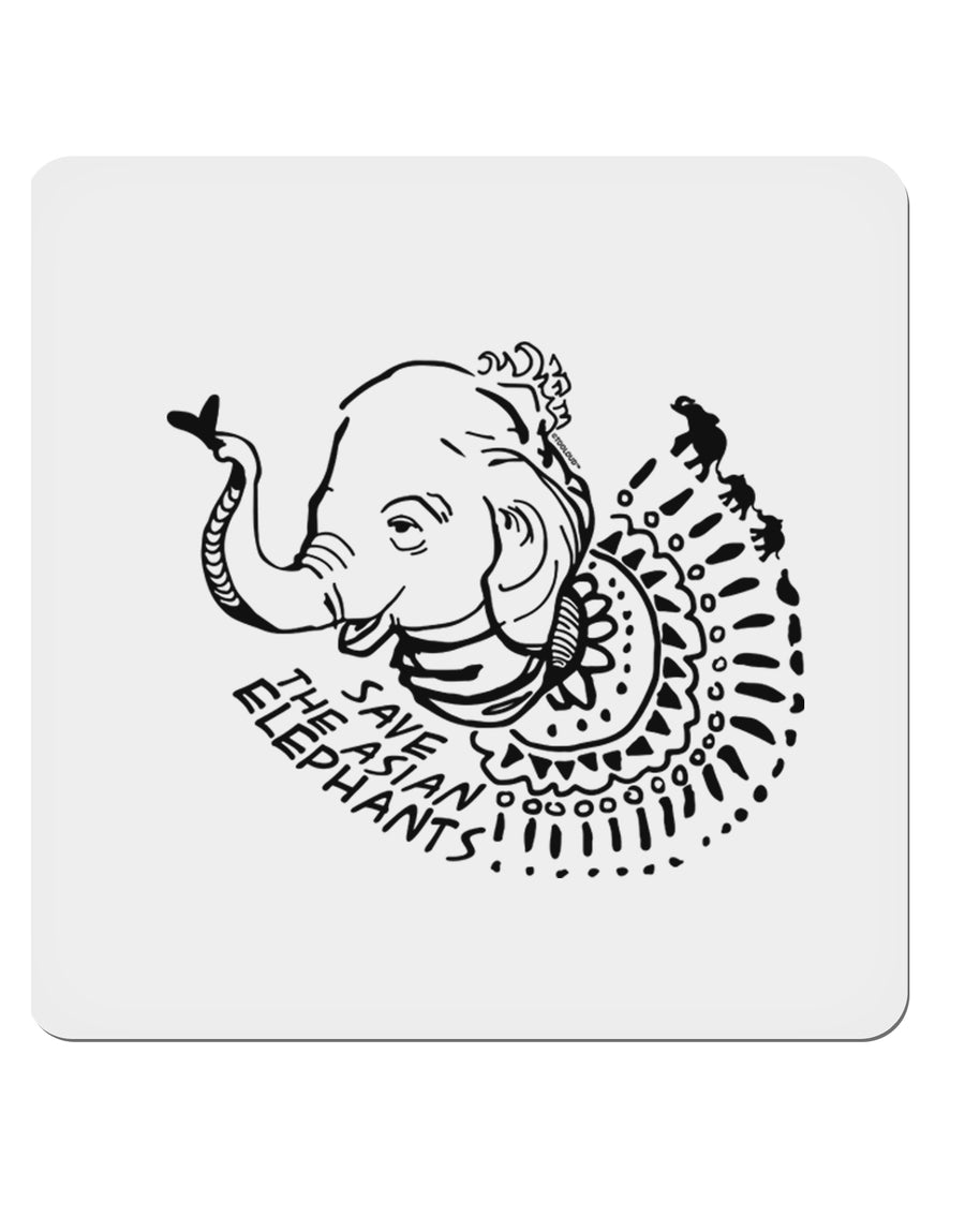"TooLoud Save the Asian Elephants 4x4"" Square Stickers - 4 Pieces"