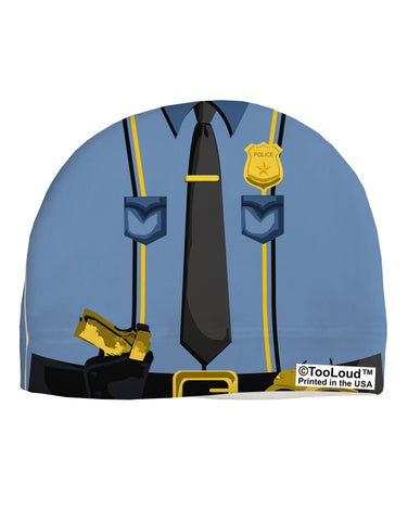 Police Blue-Gold AOP Adult Fleece Beanie Cap Hat All Over Print