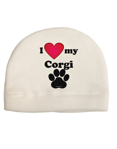 I Heart My Corgi Child Fleece Beanie Cap Hat by TooLoud