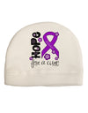Hope for a Cure - Purple Ribbon Alzheimers Disease - Flowers Child Fleece Beanie Cap Hat