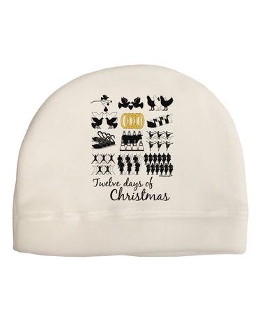 12 Days of Christmas Text Color Adult Fleece Beanie Cap Hat