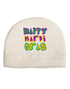 Happy Mardi Gras Text 2 Adult Fleece Beanie Cap Hat