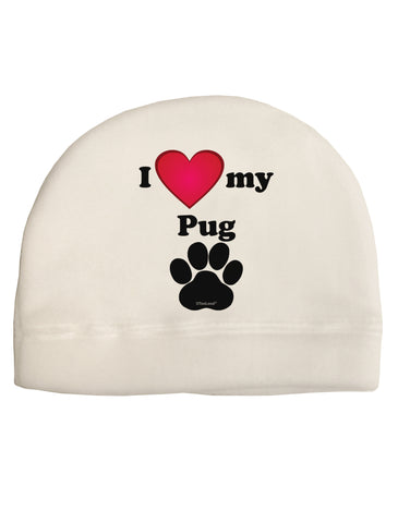 I Heart My Pug Child Fleece Beanie Cap Hat by TooLoud