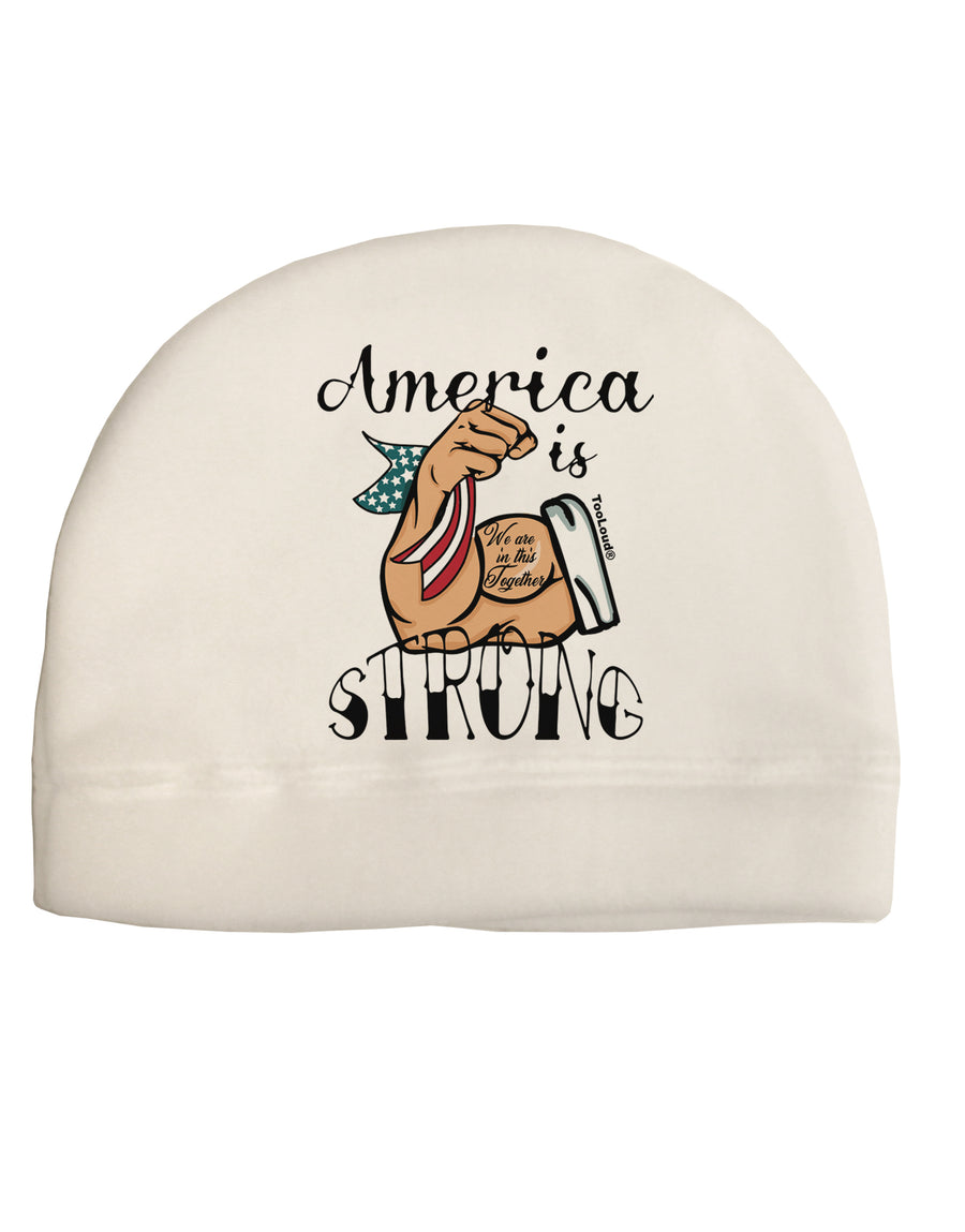 America is Strong We will Overcome This Child Fleece Beanie Cap Hat To
