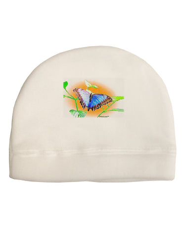 Blue Watercolor Butterfly Adult Fleece Beanie Cap Hat