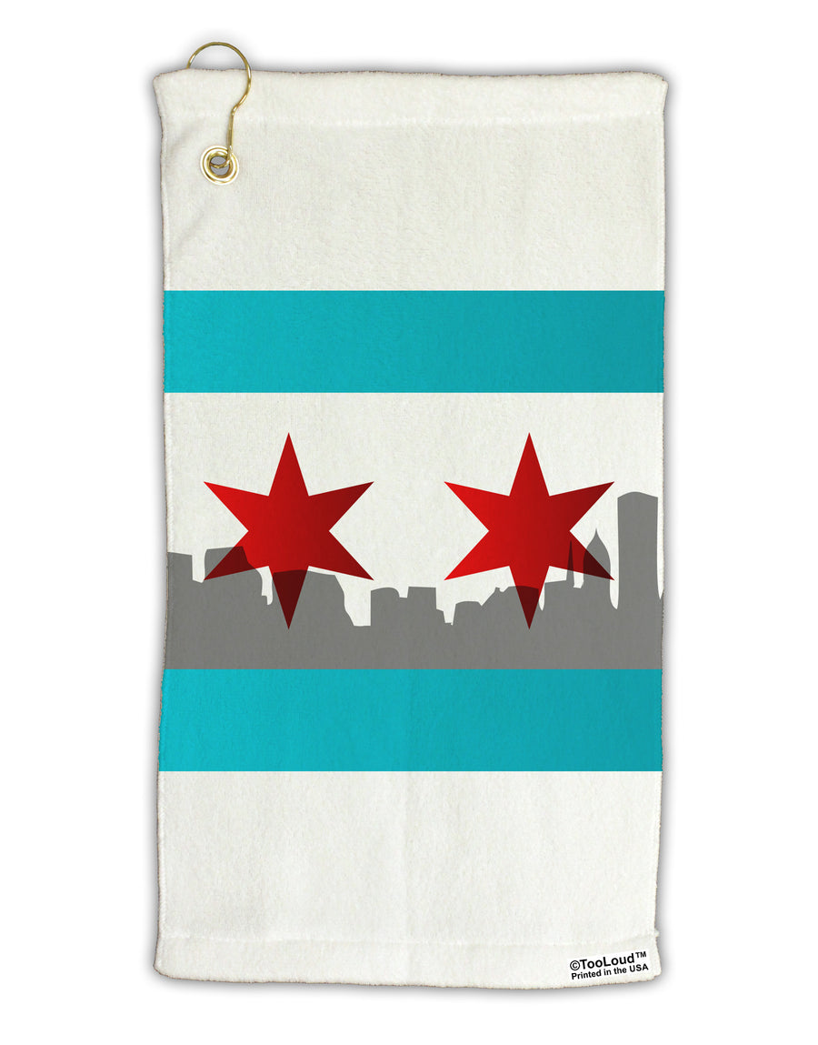 Chicago Flag Skyline AOP Micro Terry Gromet Golf Towel 15 x 22 Inch All Over Print