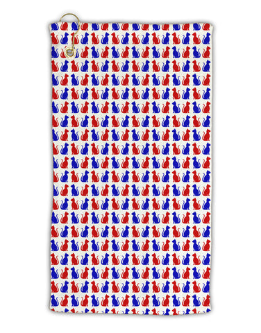 "Patriotic Cat Pattern Micro Terry Gromet Golf Towel 11""x19"" All Over Print"