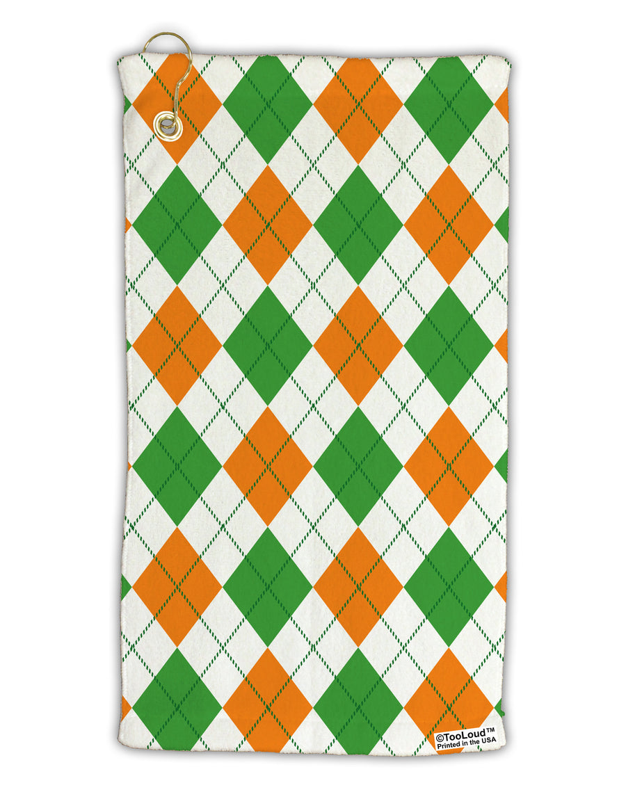 Irish Colors Argyle Pattern Micro Terry Gromet Golf Towel 15 x 22 Inch All Over Print