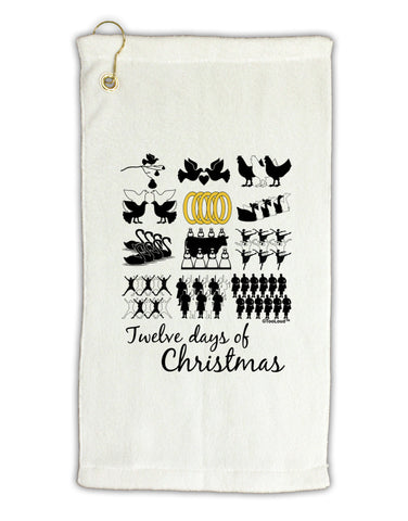 "12 Days of Christmas Text Color Micro Terry Gromet Golf Towel 11""x19"